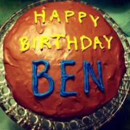 A fluffy yellow cake with chocolate frosting for Ben's birthday