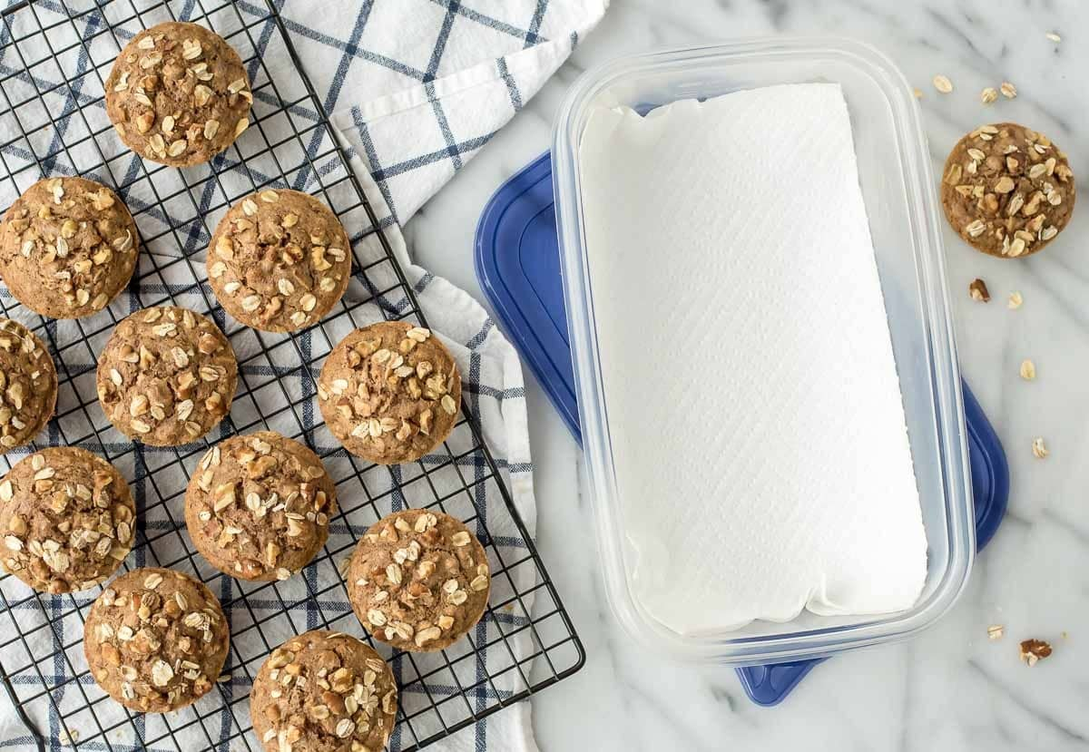 How to store muffins. This one simple trick will keep them from getting soggy! @wellplated