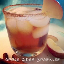 An apple cider sparkler in a glass