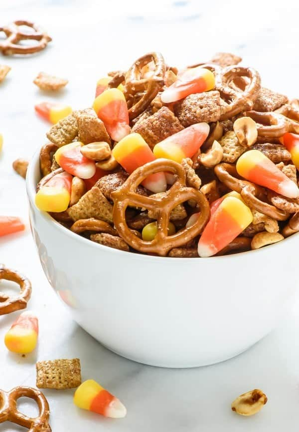 Halloween Chex Mix with Salty Maple Peanuts