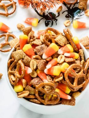 Salty Sweet Halloween Chex Mix with Maple Peanuts and Candy Corn