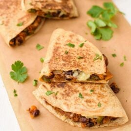Cheesy Sweet Potato Black Bean Quesadillas. A simple, delicious vegetarian dinner.