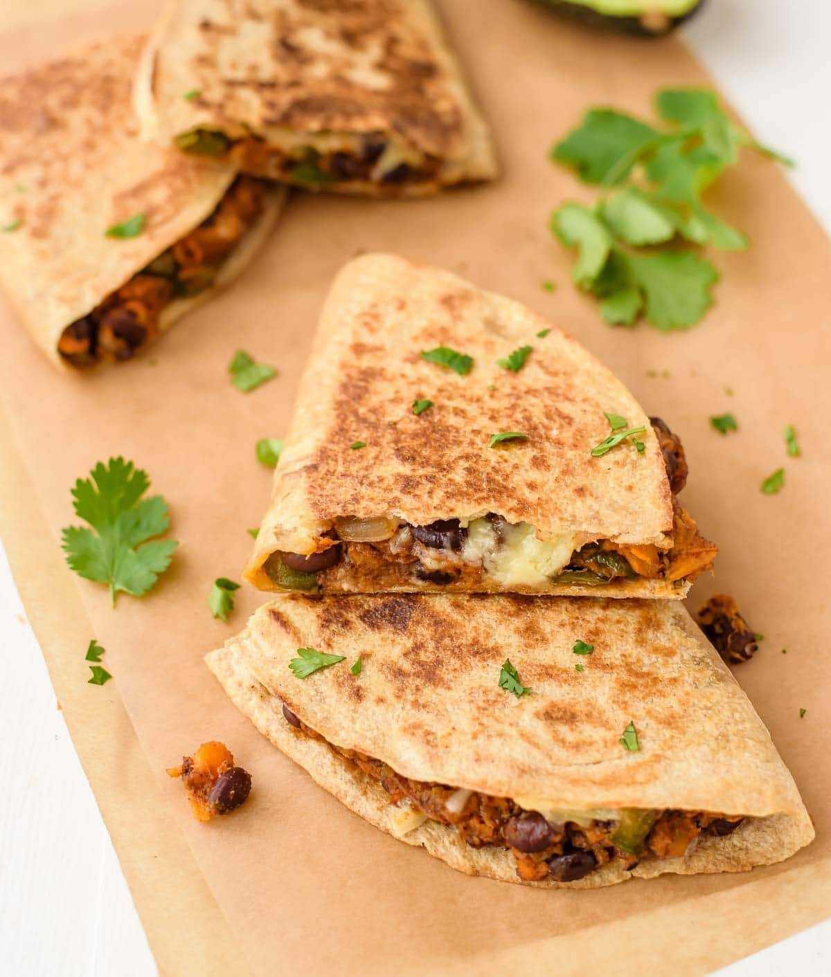 vegan black bean sweet potato quesadillas