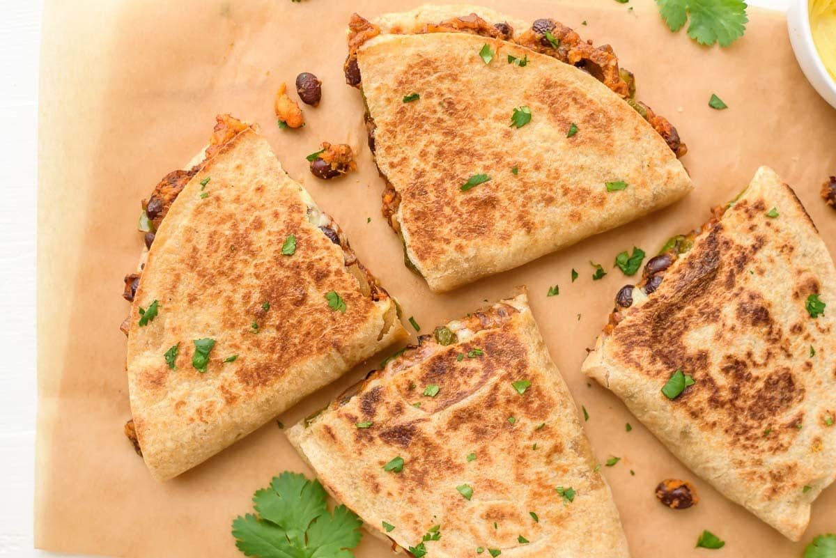 Sweet Potato Black Bean Quesadilla recipe. Easy, affordable, and freezer-friendly too!