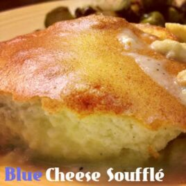 Light and fluffy blue cheese souffle