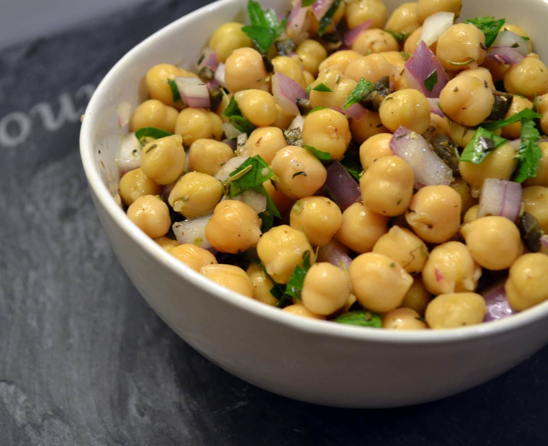 Cowboy Caviar {Chickpea Salad with Olives and Herbs}