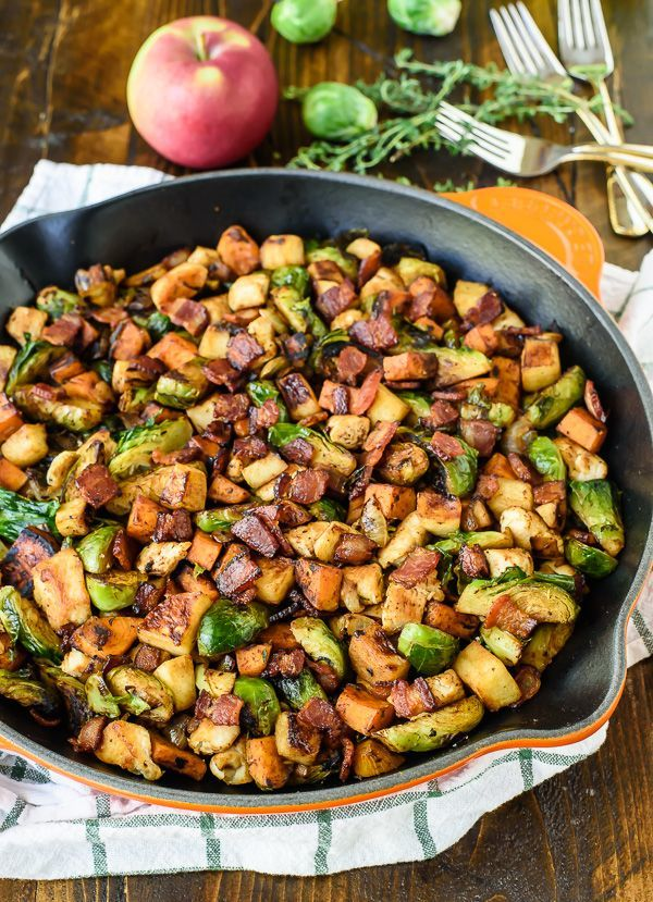 Chicken, Apple, Sweet Potato, and Brussels Sprouts Skillet | Delicious And Easy Fall Recipes I Homemade Recipes | Cozy Dinner Ideas