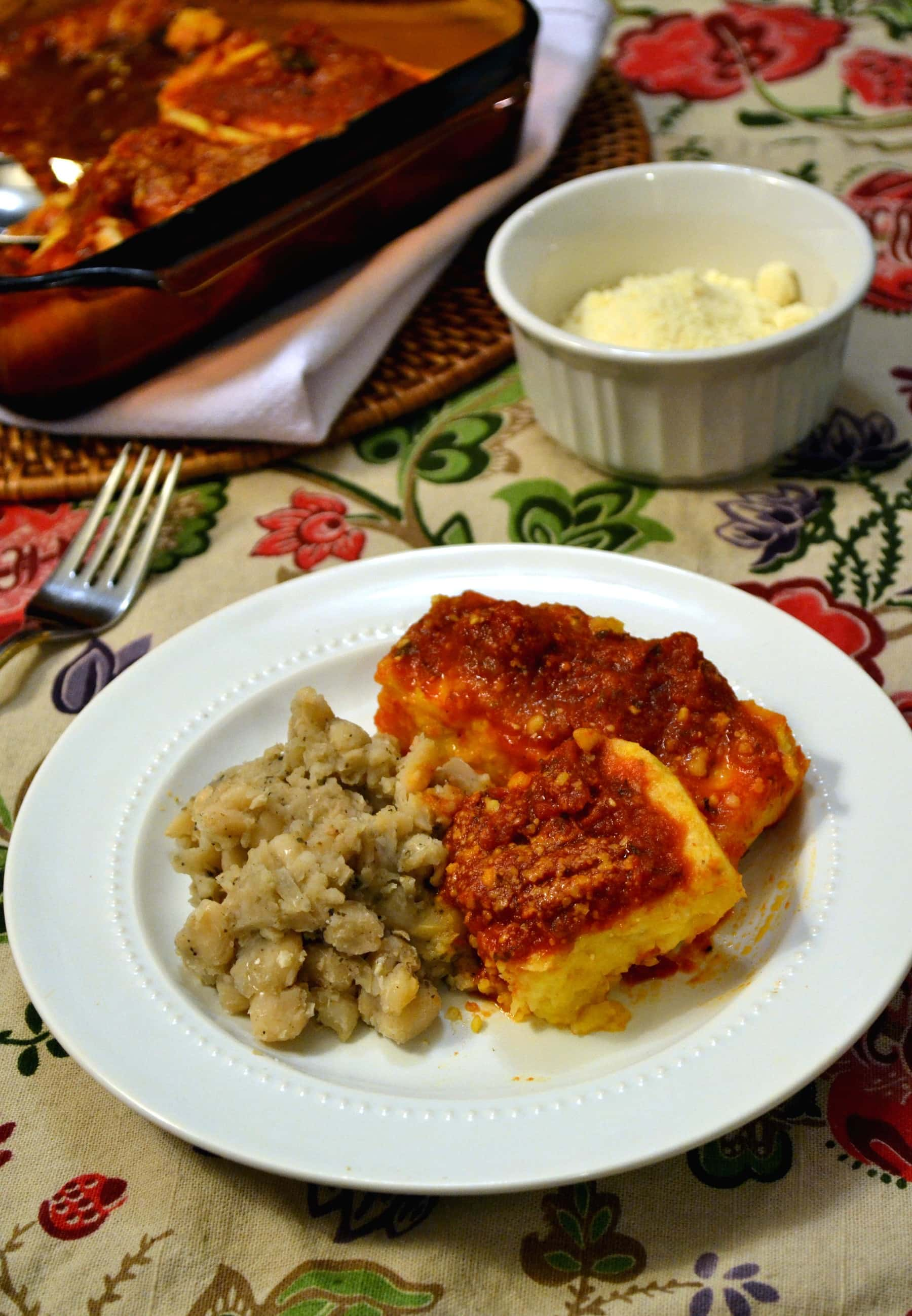 Creamy, velvety polenta the easy, oven-baked way, served beside rustic ...