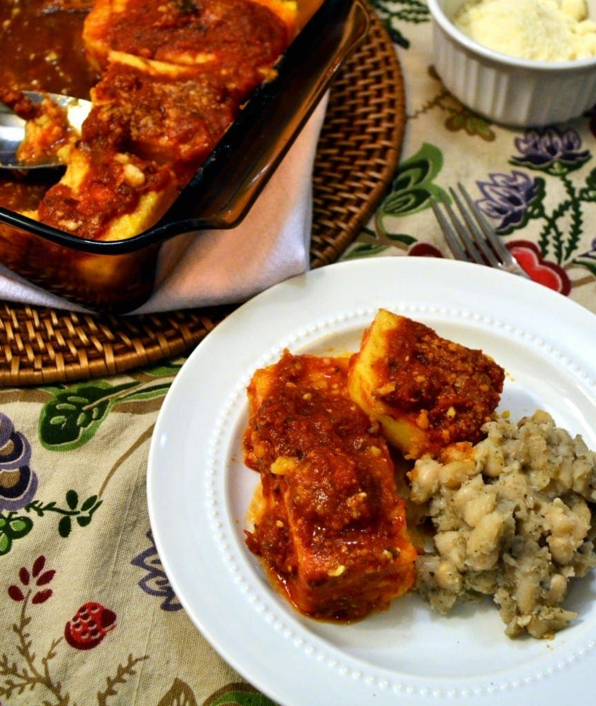 Parmesan baked polenta with tuscan white beans - Baked polenta cheese recipes ...