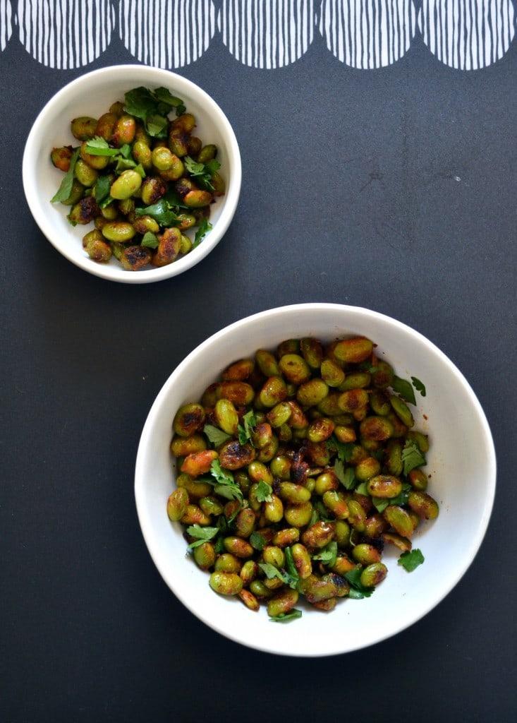 Two bowls of easy Thai spice crispy edamame