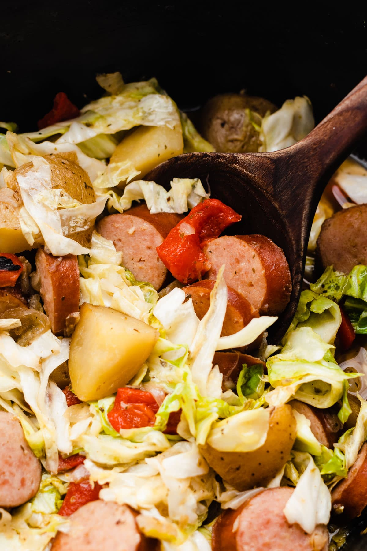 Irish Potatoes, Turkey Sausage, and Cabbage Supper {Slow Cooker}