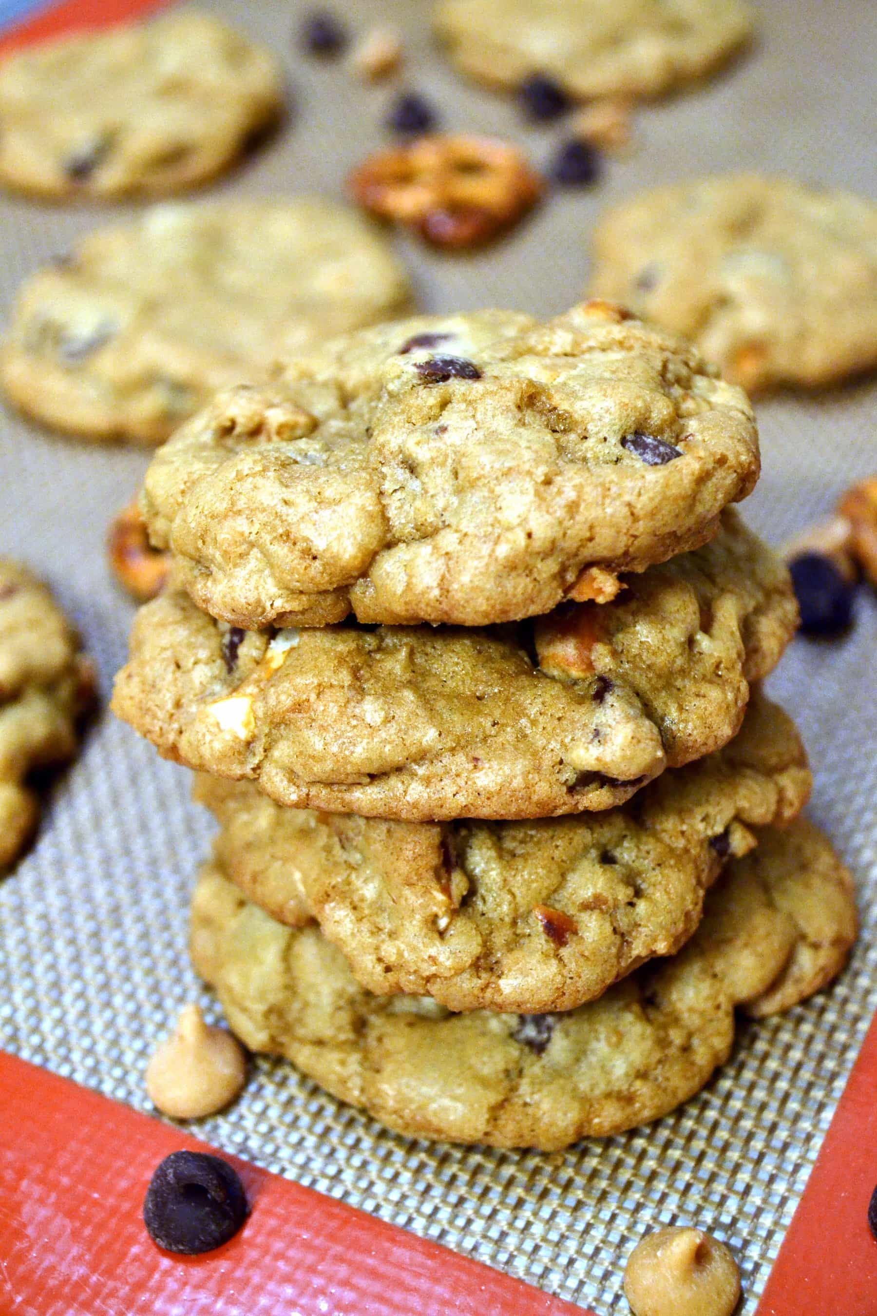 Crispy Chewy Pretzel, Peanut Butter, and Chocolate Chip Cookies