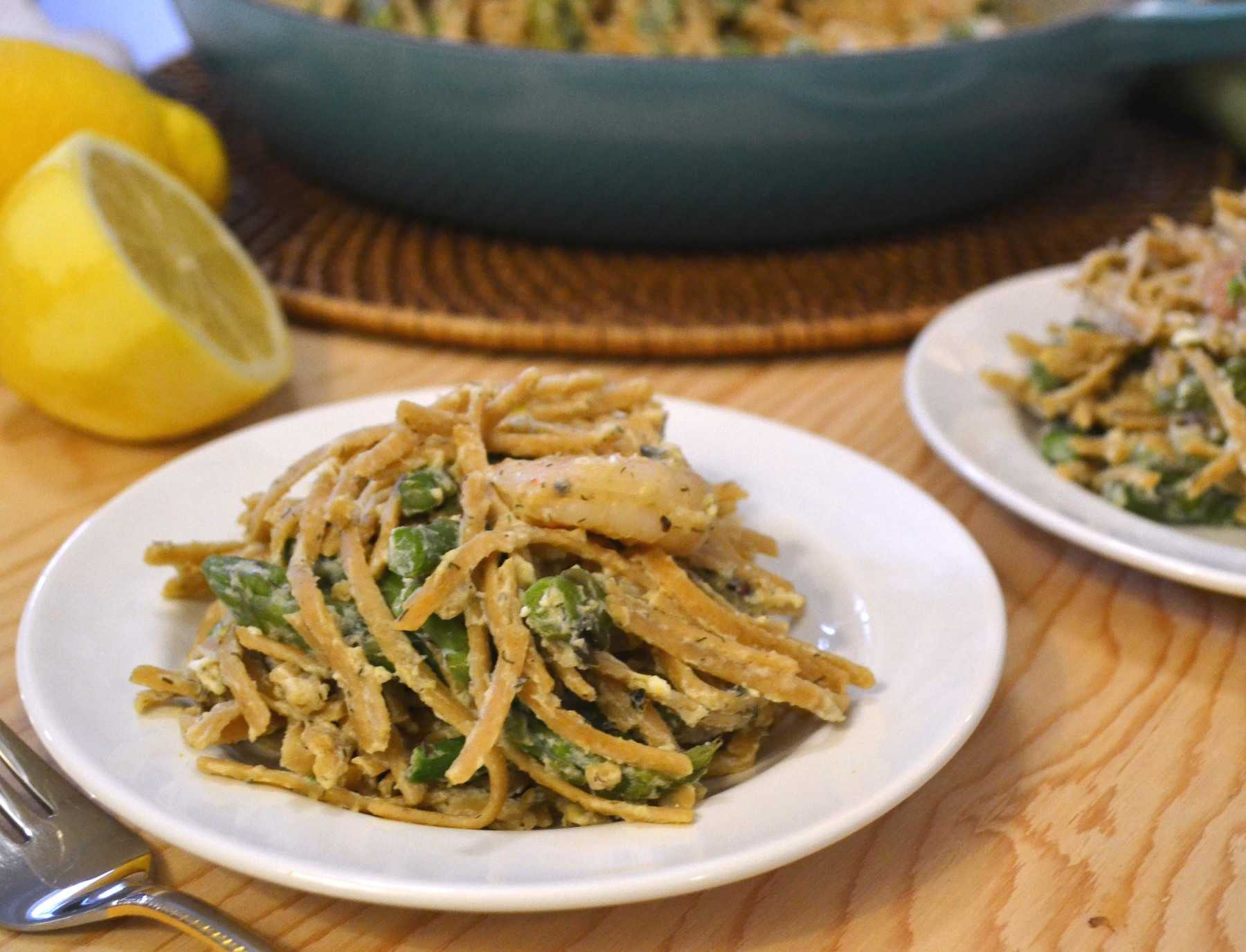 ... party while it lasts with Lemon Asparagus Pasta with Roasted Shrimp