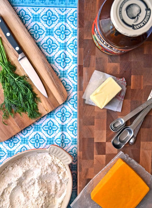 Ingredients to make cheddar dill biscuits with apple butter