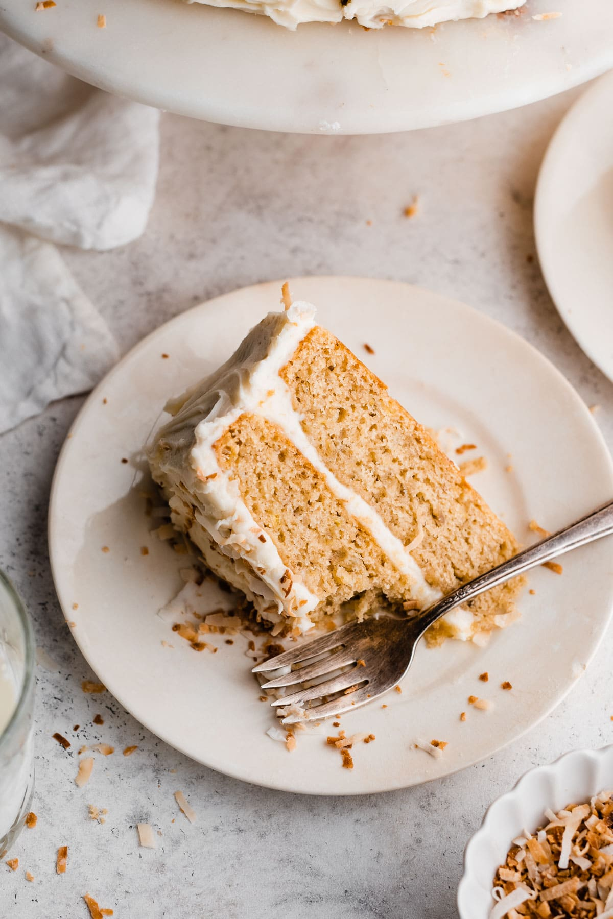 Banana Cake with Toasted Coconut Cream Cheese Frosting
