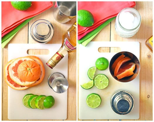 Ingredients to make refreshing grapefruit margaritas