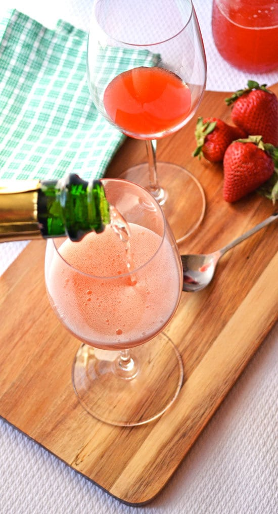 Strawberry basil champagne sparklers in two glasses