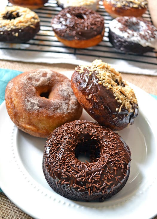 Double chocolate and buttermilk doughnuts served on a plate
