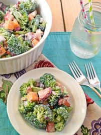 Strawberry broccoli salad served in a white bowl