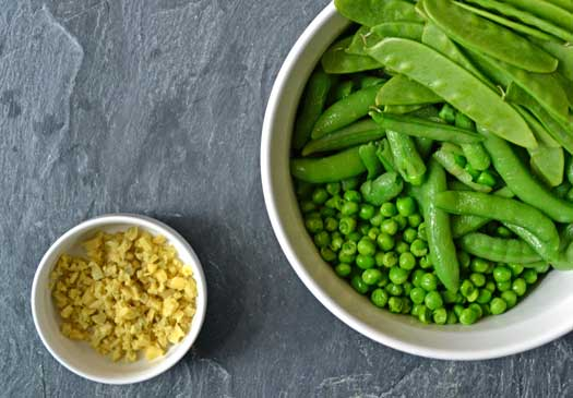 Three types of peas in a bowl