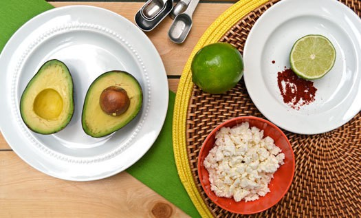 Ingredients to make avocado dip