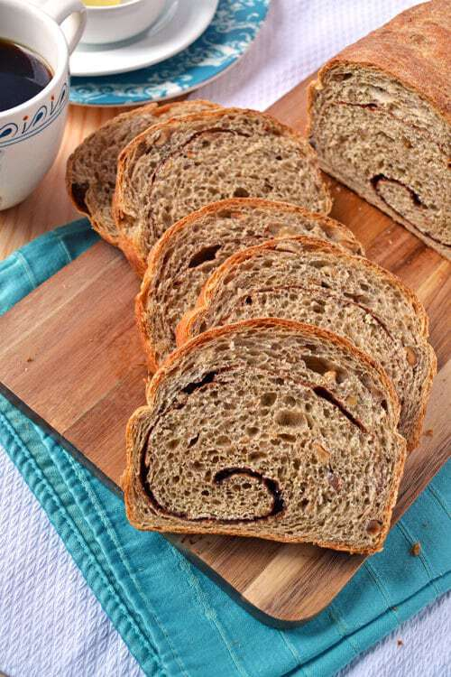 Cinnamon Bread with a Cinnamon Swirl, Whole Wheat Flour, and Hazelnuts