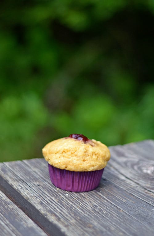 Raspberry Jam-Stuffed Cornbread Muffins--Simple Healthy Recipe