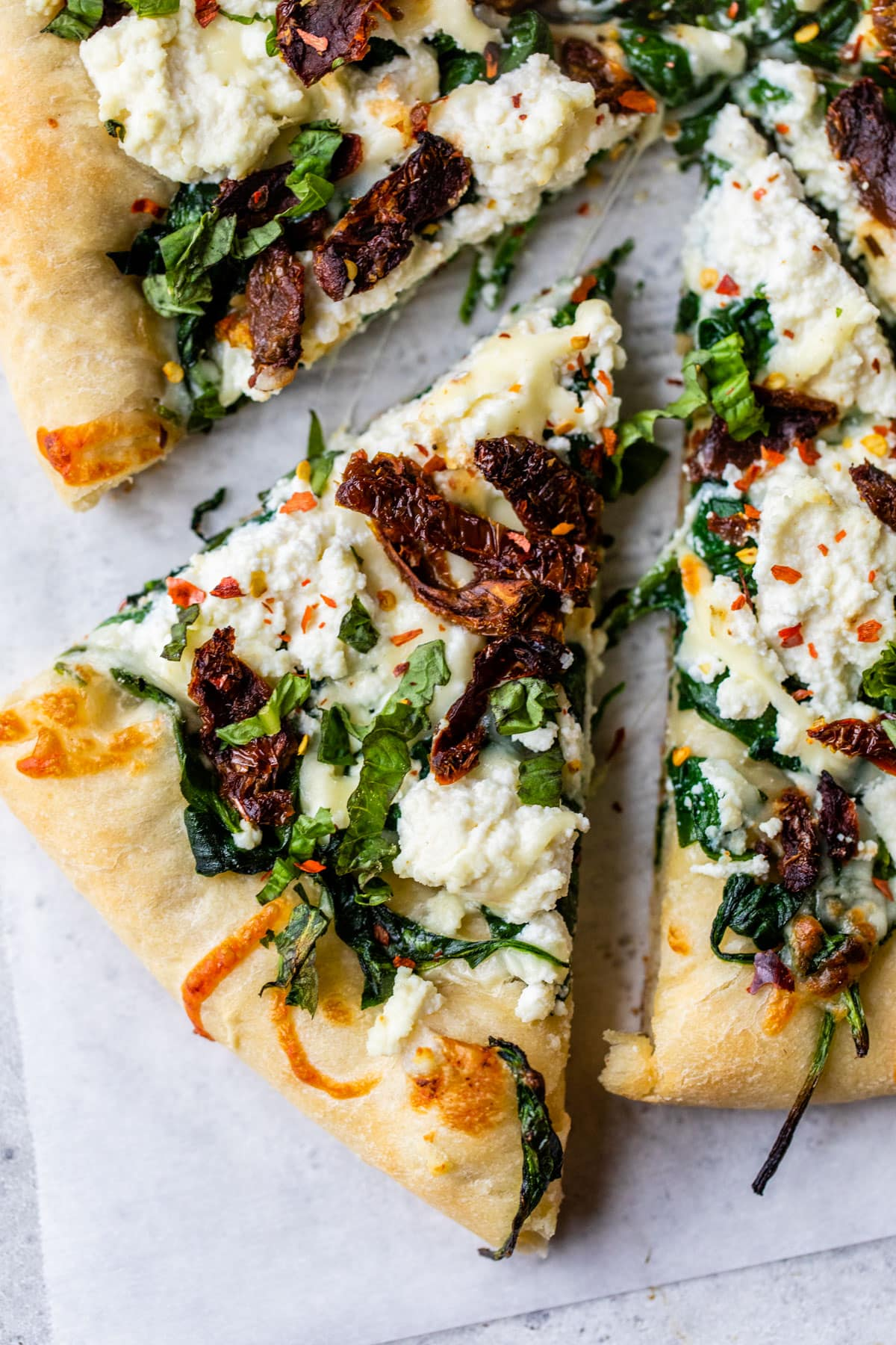 Ricotta Pizza with Peaches and a balsamic drizzle