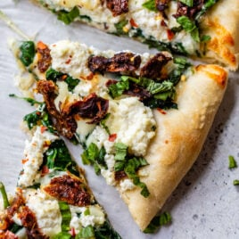 Peach ricotta pizza with balsamic drizzle