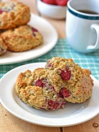 Tender raspberry scones on a white plate