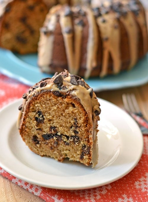 Peanut Butter Cake with Chocolate Chips and Peanut Butter Glaze