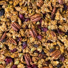 Delicious pumpkin granola with cranberries and pecans