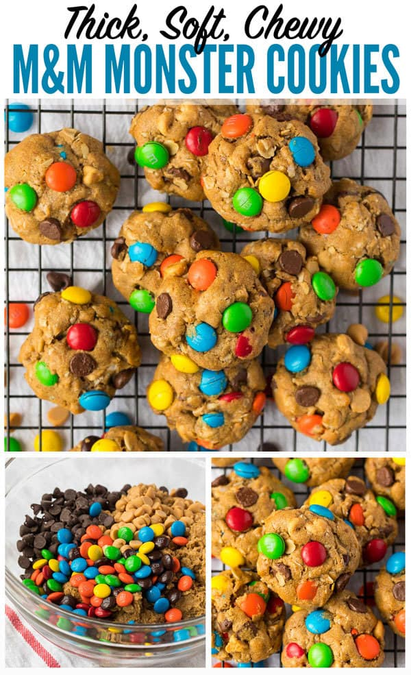 The BEST MONSTER COOKIES. These thick, soft, and chewy cookies are loaded with peanut butter, oatmeal, chocolate chips, AND peanut butter chips, plus M&M candies. Even better than the Pioneer Woman! Easy and perfect every time. #wellplated #monstercookies #peanutbutter #easydessert