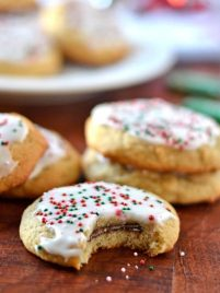Andes Mint Cookies. Fluffy sugar cookies stuffed with Andes mints.