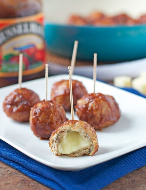 Cheese Stuffed Apple Chicken Meatballs (Slow Cooker)