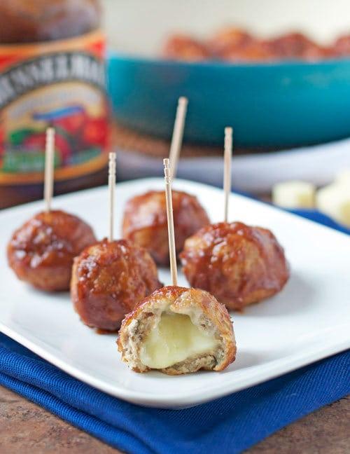 Cheese Stuffed Apple Chicken Meatballs (Slow Cooker)