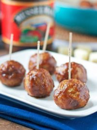 Cheese Stuffed Apple Chicken Meatballs. Slow cooker friendly!