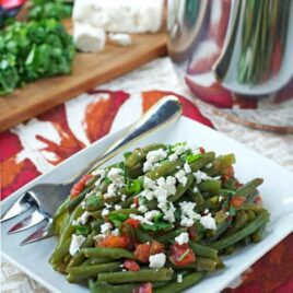 Spicy Braised Green Beans with Feta and Tomatoes