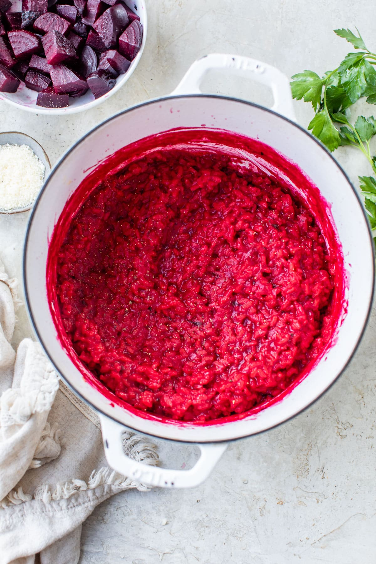 Beet Risotto with parmesan