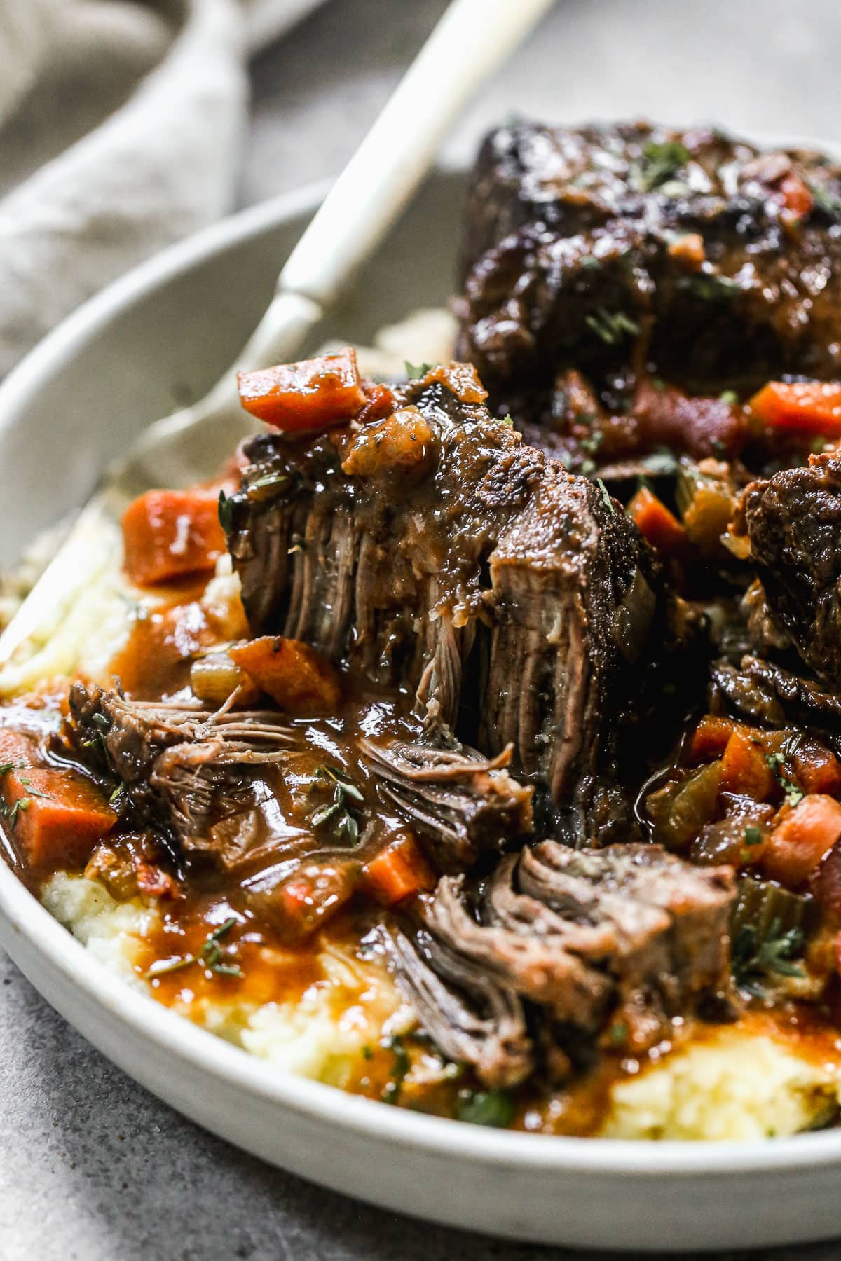 Chianti Braised Short Ribs with Horseradish Cream