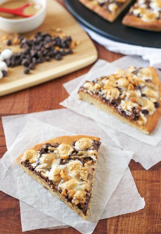 Peanut Butter S'mores Pizza. Incredible dessert pizza!