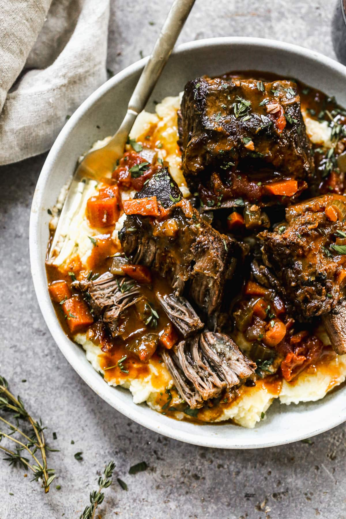 Red Wine Braised Short Rib Pasta with Horseradish Cream