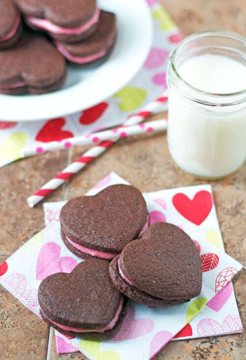 Valentine's Chocolate Sandwich Cookies with Raspberry Cream Cheese Filling