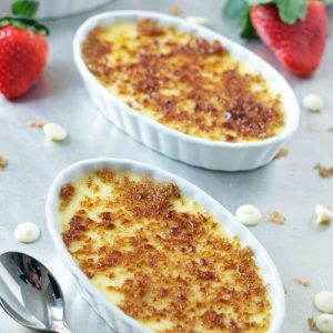 White Chocolate Strawberry Creme Brulee