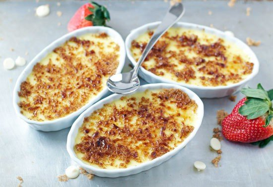 White Chocolate Strawberry Creme Brulee. No blow torch required!