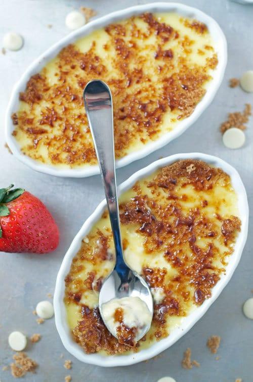 White Chocolate Strawberry Creme Brulee. Recipe for romance.