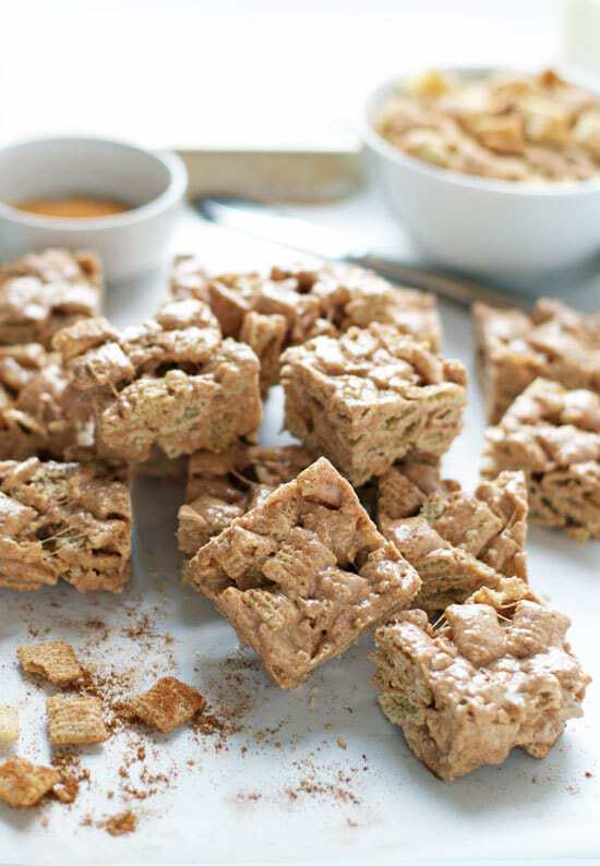 Brown Butter Churro Crispy Treats. Marshmallow treats that taste just like churros!