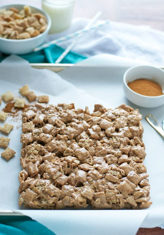 Brown Butter Churro Crispy Treats. Marshmallow treats made with Cinnamon Chex cereal that taste just like churros! Gluten free