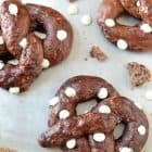 Homemade Chocolate Soft Pretzels with White Chocolate Chips