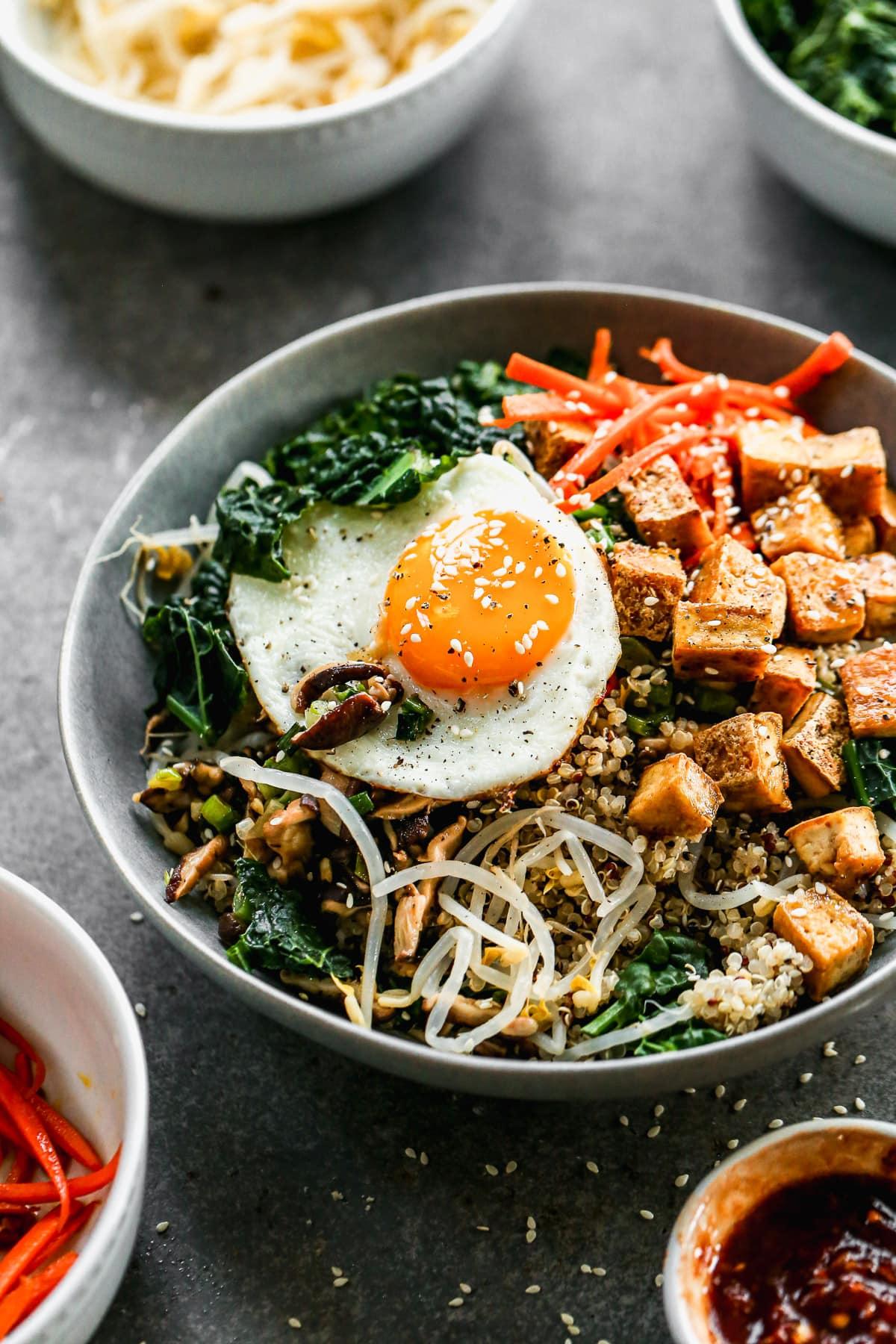 Bibimbap with Crispy Tofu and Quinoa